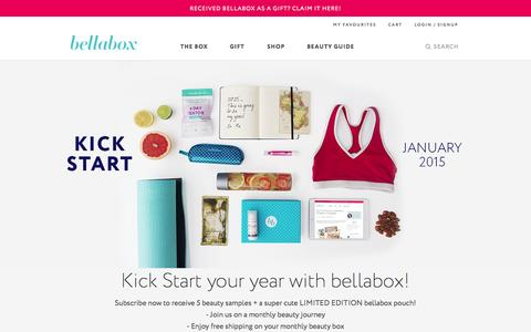 Screenshot of Home Page bellabox.com.au - Discover the most exciting cosmetics and beauty trends delivered in a box | bellabox Australia - captured Jan. 21, 2015