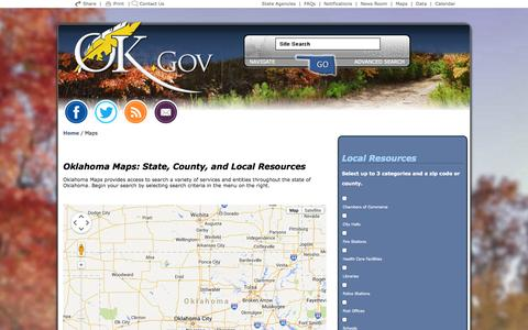Screenshot of Maps & Directions Page ok.gov - Welcome to Oklahoma's Official Web Site - captured Oct. 10, 2014