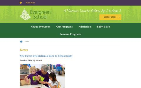 Screenshot of Press Page evergreenschool.com - News | Evergreen School - captured July 22, 2018