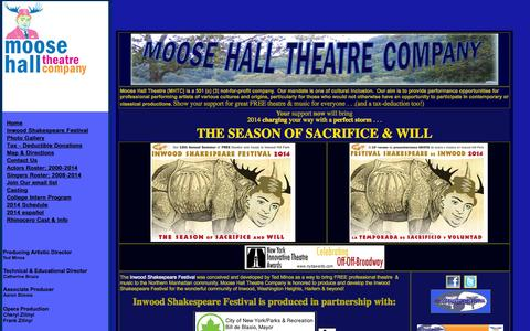 Screenshot of Home Page moosehallisf.org - Moose Hall Theatre Company - captured Oct. 8, 2014