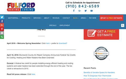 Screenshot of Press Page fulfordhvac.com - Stay Updated on Fulford HVAC News - captured Oct. 3, 2018