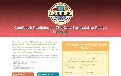 Screenshot of Landing Page cookbookpublishers.com - Cookbook Fundraising with Cookbook Publishers - captured June 16, 2016