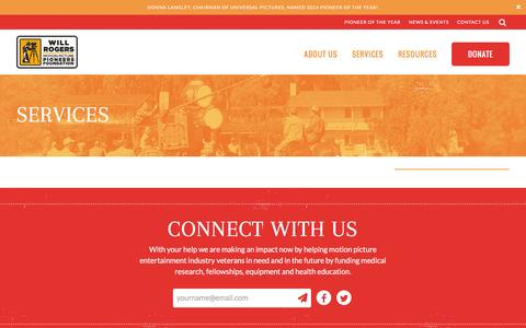 Screenshot of Services Page wrpioneers.org - Services - Will Rogers Motion Picture Pioneers Foundation - captured Feb. 28, 2016