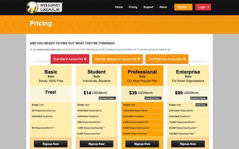 Screenshot of Pricing Page websurveycreator.com - Online Survey Pricing: Choose from different plans for web surveys - captured Oct. 31, 2014