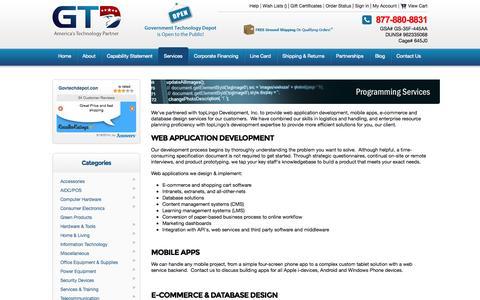 Screenshot of Services Page govtechdepot.com - Programming Services | Web application development, mobile apps, e-commerce & database design - captured Sept. 19, 2014