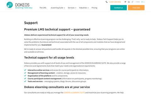 Screenshot of Support Page dokeos.com - Dokeos provides technical support for all Dokeos elearning suite tools - captured Dec. 6, 2017