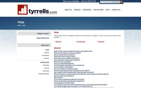 Screenshot of FAQ Page tyrrells.com - FAQs | Tyrrells Property Inspections - captured Oct. 6, 2014