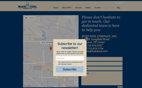 Screenshot of Contact Page bukstool.com - Buks Tool Co- Houston's Premier Machine Shop - captured Oct. 11, 2017