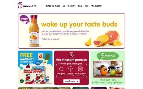 Screenshot of Home Page innocentdrinks.co.uk - innocent – 100% pure fruit smoothies, orange juice, kids smoothies and tasty veg pots - captured Sept. 24, 2014