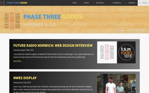 Screenshot of Blog phasethreegoods.co.uk - Blog - Phase Three Goods - captured Sept. 29, 2014