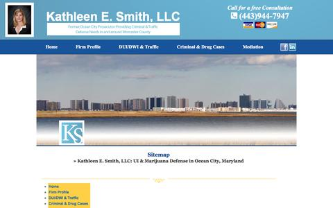 Screenshot of Site Map Page ksmithlegal.com - Sitemap | UI & Marijuana Defense in Ocean City, Maryland - captured Oct. 1, 2014