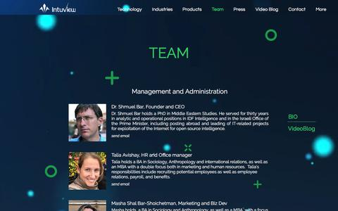 Screenshot of Team Page intuview.com - Artificial Intelligence | Israel | Intuview | Team - captured Sept. 19, 2018
