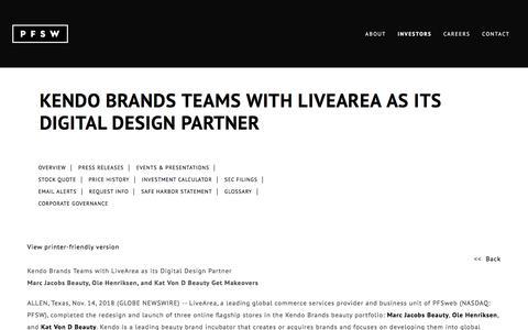 Screenshot of Team Page pfsweb.com - Kendo Brands Teams with LiveArea as its Digital Design Partner | PFSweb, Inc. - captured Feb. 20, 2020