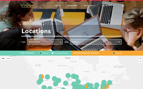 Screenshot of Locations Page girlswhocode.com - Locations - Girls Who Code - captured Nov. 6, 2016