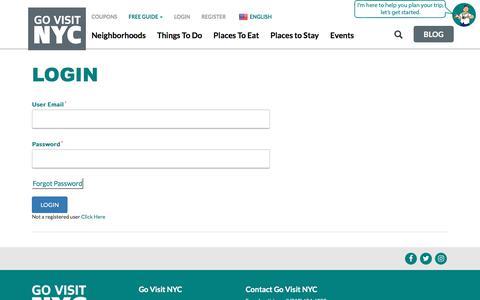 Screenshot of Login Page govisitnyc.com - Login - Go Visit NYC - captured July 11, 2018