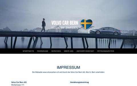 Screenshot of About Page volvocarbern.ch - Impressum - Volvo Car Bern AG - captured Aug. 18, 2016