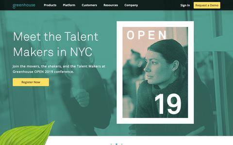 Screenshot of Home Page greenhouse.io - Recruiting Software & Applicant Tracking System   Greenhouse - captured May 12, 2019
