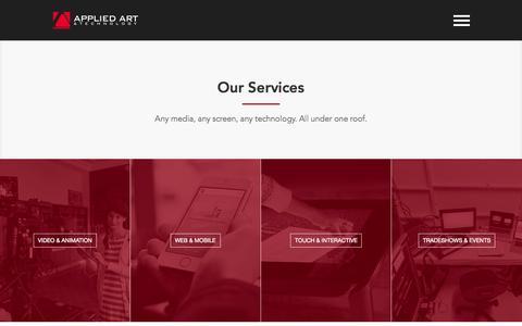 Screenshot of Services Page appliedart.com - Our Services - captured Nov. 12, 2015