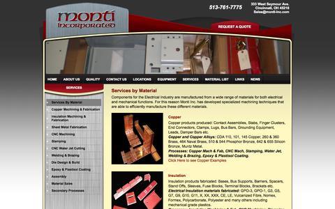 Screenshot of Services Page monti-inc.com - Copper Machining, Insulation Machining, Steel Machining - Monti Incorporated, Cincinnati Ohio - captured Oct. 7, 2014