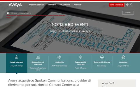 Screenshot of Press Page avaya.com - Avaya acquisisce Spoken Communications, provider di riferimento per soluzioni di Contact Center as a Service - captured May 3, 2018