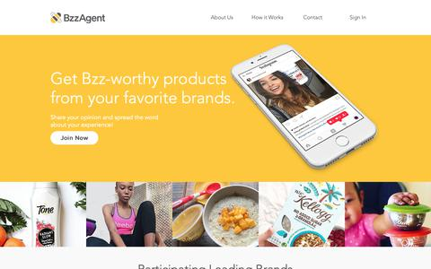 Screenshot of Home Page bzzagent.com - Bzzagent - captured Oct. 2, 2018