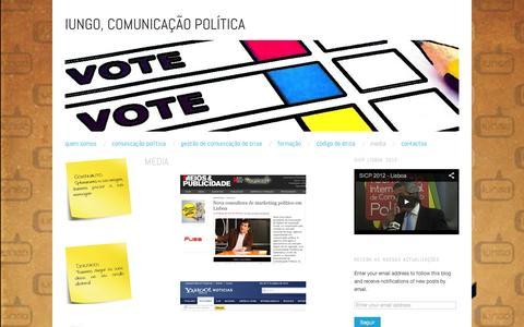 Screenshot of Press Page wordpress.com - media | iungo, Comunicação Política - captured Sept. 12, 2014
