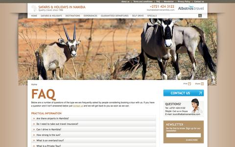 Screenshot of FAQ Page safariholidaynamibia.com - FAQ | Safaris & Holidays in Namibia by Albatros Travel - captured March 4, 2016