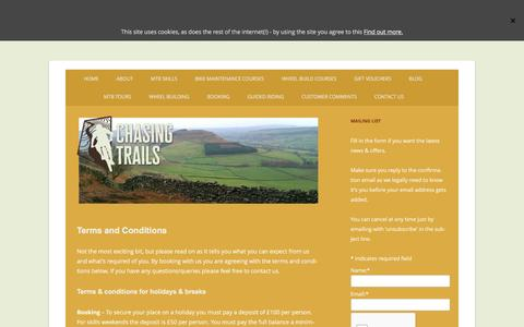 Screenshot of Terms Page chasingtrails.com - Chasing Trails terms & conditions - captured May 16, 2017