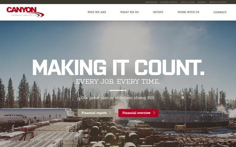 Screenshot of Home Page canyontech.ca - Canyon Technical Services - Providing services to oil and natural gas producers across Western Canada - captured Jan. 24, 2016