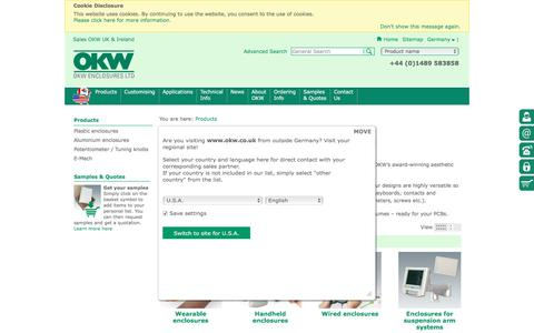 Screenshot of Products Page okw.co.uk - Electronic Enclosures, Potentiometer Knobs   OKW - captured Nov. 29, 2016