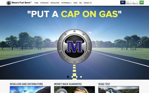 Screenshot of Home Page maxasfuelsaver.com - Home | Maxa's Fuel Saver Inc. | Put a Cap On Gas - captured Sept. 22, 2014