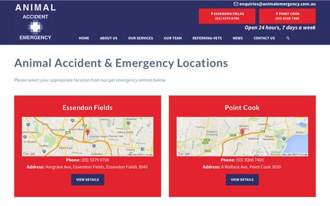 Screenshot of Locations Page animalemergency.com.au - MVSC Locations - Contact Us - captured July 13, 2016