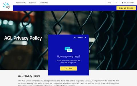 Screenshot of Privacy Page agl.com.au - Privacy Policy | AGL - captured May 22, 2017