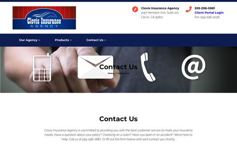 Screenshot of Contact Page clovisinsuranceagency.com - Contact Us - Clovis Insurance Agency - captured Nov. 5, 2018
