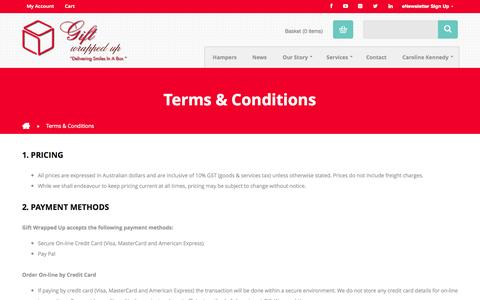 Screenshot of Terms Page giftwrappedup.com.au - Terms & Conditions - :Gift Wrapped Up - captured Sept. 29, 2014