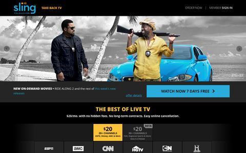 Screenshot of Home Page sling.com captured April 29, 2016