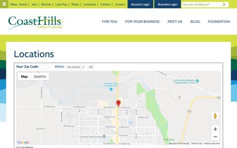 Screenshot of Locations Page coasthills.coop - Paso Robles, Atascadero, San Luis Obispo, Arroyo Grande, Nipomo, Santa Maria, Orcutt, VAFB, Vandenberg Village, Lompoc & Thousand Oaks   CoastHills Credit Union - captured Dec. 15, 2018