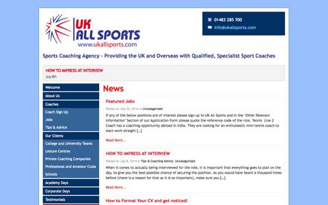 Screenshot of Blog ukallsports.com - Sports Coaching Agency – Providing the UK and Overseas with Qualified, Specialist Sport Coaches - UK All Sports - captured Sept. 30, 2014