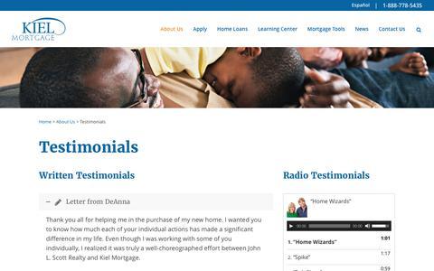 Screenshot of Testimonials Page kielmortgage.com - Testimonials - Kiel Mortgage - captured June 9, 2017