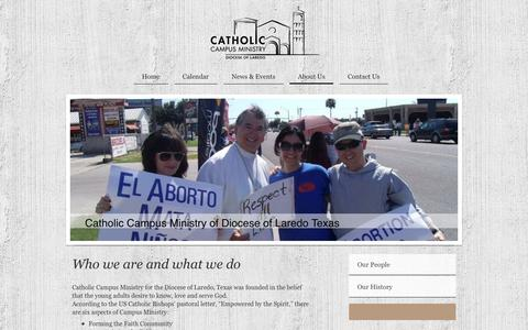 Screenshot of About Page newmanclub.us - Catholic Campus Ministry of Laredo Texas - About Us - captured Feb. 17, 2016