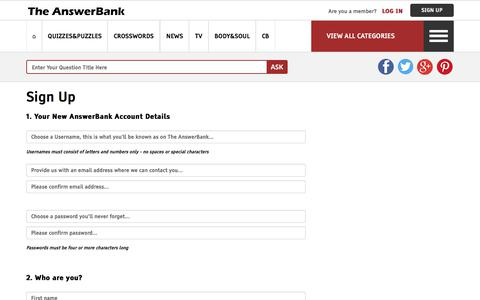 Screenshot of Signup Page theanswerbank.co.uk - Sign Up To The AnswerBank - captured Sept. 22, 2018
