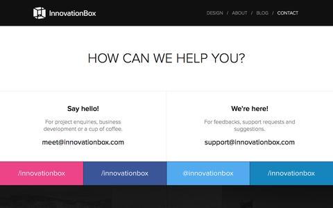Screenshot of Contact Page innovationbox.com - InnovationBox -  Mobile App Design and Development Studio - captured Aug. 5, 2016
