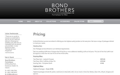 Screenshot of Pricing Page bondbrothers.ie - Pricing - Bond Brothers formalwear for men - captured Oct. 5, 2014