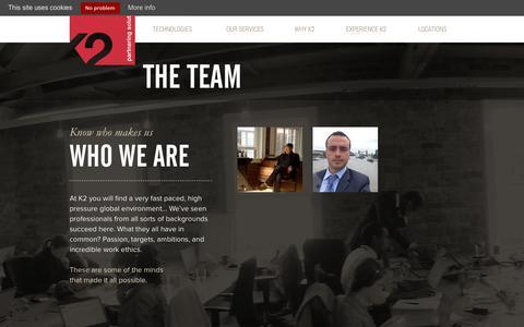 Screenshot of Team Page k2partnering.com - The Team < K2 - captured Jan. 24, 2016