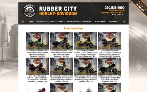 Screenshot of Site Map Page rubbercityharley.com - Inventorymap   Rubber City Harley-Davidson®   Cuyahoga Falls Ohio - captured Oct. 6, 2014