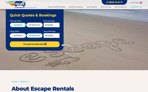 Screenshot of About Page escaperentals.co.nz - About Us | Campervan Hire Company NZ | Escape Rentals - captured Nov. 10, 2018