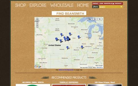 Screenshot of Maps & Directions Page beansmith.com - MAP | Beansmith Coffee | Fresh Roasted in Omaha | Great Coffee Made Better - captured Oct. 5, 2014