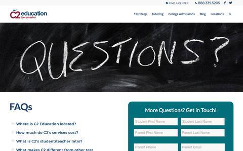 Screenshot of FAQ Page c2educate.com - FAQs | C2 Education - captured March 14, 2018