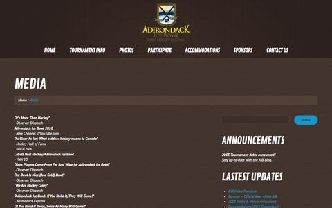 Screenshot of Press Page adirondackicebowl.com - Media | Adirondack Ice Bowl - captured Oct. 4, 2014