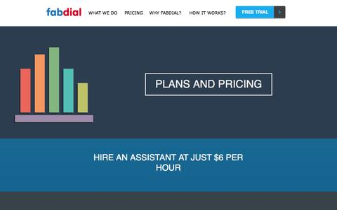 Screenshot of Pricing Page fabdial.com - Pricing | Fabdial - Virtual Assistant Services - captured Nov. 3, 2014